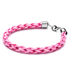 Fashion Pink Woven Rope Stainless Steel Clasp Bracelet
