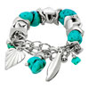 Silver Tone Turquoise Beads Mix Dangle Heart Love Bracelet