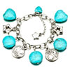 Star And Round Silver Tone With Heart And Round Turquoise Beads Bracelets ...