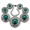 Green Round With Silver Pattern Stone Bracelet
