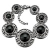 Black Round With Silver Pattern Stone Bracelet