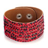 Red Rhinestone With Leather Bracelet