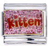 Pink Kitten Letter Italian Charm Bracelets