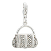 925 Sterling Silver Clear White Crystal Handbag Lobster Clasp Charm For Br...