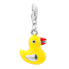 925 Sterling Silver Cute Yellow Duck Lobster Clasp Charm For Bracelet