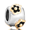 22K Cylindrical  Flower  Two Tone Plated Beads Charms Bracelets