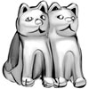 Twin Cat Fit All Brands Silver Plated Beads Charms Bracelets