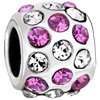 Pink Clear Crystal Studded Wheel Spacer Silver Plated Beads Charms Bracelets