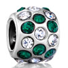 Emerald Clear Crystal Silver Plated Beads Charms Bracelets