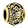 Golden Dot Crystal Drum Two Tone Plated Beads Charms Bracelets