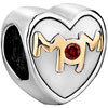 Mom  Red Crystal Heart Gift Fit All Brands Two Tone Plated Beads  ...