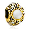 22K Faux Pearl Two Tone Plated Beads Charms Bracelets
