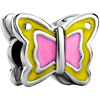 Pink Enamel Butterfly Silver Plated Beads Charms Bracelets