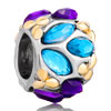 Blue Purple Flower Fit All Brands Two Tone Plated Beads Charms Bracelets