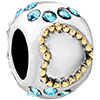 22K Aquamarine Crystal Two Tone Plated Beads Charms Bracelets