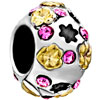 Golden Flower And October Birthstone Pink Crystal All Brands Two Tone Plated Beads Charms Bracelets