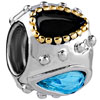 22K Aquamarine Black Crystal Droplet Two Tone Plated Beads Charms Bracelets