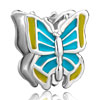 Blue Enamel Butterfly Silver Plated Beads Charms Bracelets