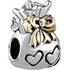 22K Flower Heart Bag Two Tone Plated Beads Charms Bracelets