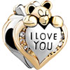 Heart Shape With I Love You And Bear Silver Gold Plated Beads Charms Brace...