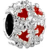 Light Red Crystal Diamond Accent Heart Love All Brand Silver Plated Beads Charms Bracelets