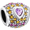Light Amethyst Crystal Heart Detailed Pink Yellow Diamond Accent Love Silver Plated Beads Charms Bracelets