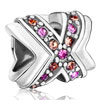Multi Color Crystal Diamond Accent Cross Ribbon All Brand Silver Plated Beads Charms Bracelets