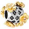 22K Carved Grid Golden Flower Two Tone Plated Beads Charms Bracelets