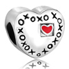 Heart Shape Engraved Xoxo And Red Love Beads Charms Bracelets