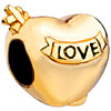 Golden Hollow Heart With Engraved Love All Brands Euro Gold Plated Beads C...