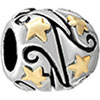 22K Silver Star Flower Vine Gold Plated Beads Charms Bracelets