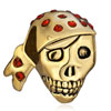 22K Siam Crystal Cool Skull Wearing Headscarf Halloween Gold Plated Beads ...