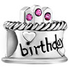 925 Sterling Silver Birthday Cake Rose Pink Crystal All Brand Beads Charms...