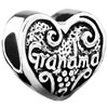Heart Love Grandma Fit All Brands &  Silver Plated Beads Charms Bracel...
