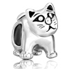 Cute Cat Animal Fit All Brands Silver Plated Beads Charms Bracelets