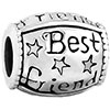 &amp;quot;Best Friend&amp;quot; Star Silver Plated Beads Charms Bracelets