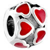 Heart Shape July Birthstone Crystal Love Silver Plated Beads Charms Bracel...