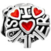 Letters With Red Hots Heart Love Silver Plated Beads Charms Bracelets
