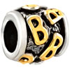 "Golden ""B"" Letter Classic Two Tone Plated Beads Charms Bracelets"