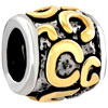 "Golden ""C"" Letter Classic Two Tone Plated Beads Charms Bracelets"