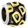 22K Letter D Two Tone Plated Beads Charms Bracelets
