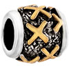 Golden X Letter Classic Two Tone Plated Beads Charms Bracelets