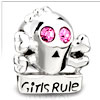 Pink Swarovski Crystal Girls Rule Fit All Brands Silver Plated Beads Charm...