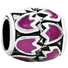 Pink Flowers Enamel Wheel Spacer Silver Plated Beads Charms Bracelets