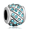 Aquamarine Blue Swarovski Crystal Bling Fit All Brands Silver Plated Beads Charms Bracelets
