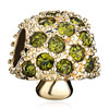 22 K Golden Mushroom Olivine Rhinestone Peridot Green Crystal Fit All Brands Gold Plated Beads Charms Bracelets