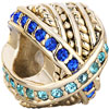 22 K Golden Round Mix Matched Aquamarine Blue Rhinestone Crystal Fit All Brands Gold Plated Beads Charms Bracelets