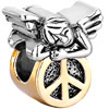 22K Cute Sleeping Angel Peace Symbol All Brand Two Tone Plated Beads Charm...
