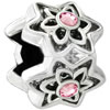 Rose Pink Crystal Diamond Accent Four Flowers Floral All Brand Silver Plated Beads Charms Bracelets