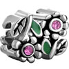 Green Enamel Leaf Rose Pink Crystal Flower Floral All Brand Silver Plated ...